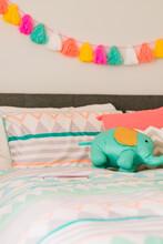 Teen Girl's Bedroom In Teal Green, Pink And Orange