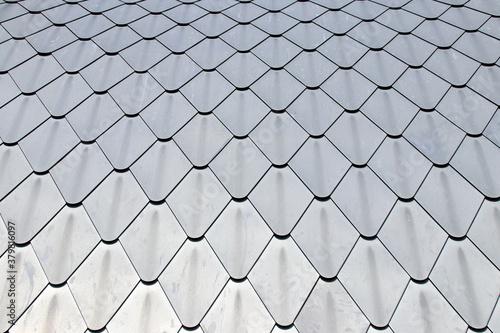 Fototapeta Close up detail of diamond shape lead roof tiles