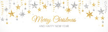 Holiday Banner With Gold And Silver Decoration. Christmas Glitter Border. Festive Vector Background Isolated On White. Garland With Stars. For Christmas And New Year Banners, Headers.