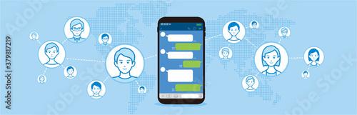 Obraz Chat app vector illustration smartphone - fototapety do salonu