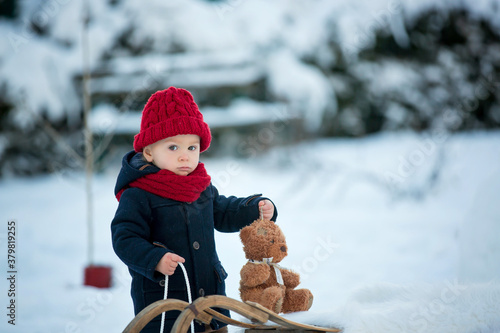 Fototapeta Baby playing with teddy in the snow, winter time. Little toddler boy in blue coat, sliding on sledge, holding teddy bear, playing outdoors in winter park obraz