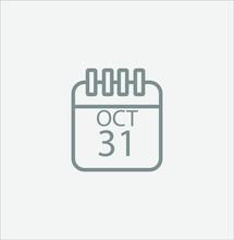 Halloween Icon, Calendar With October 31
