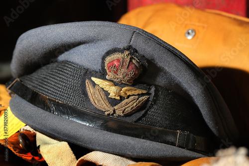 Fototapeta World war two British Royal air force officer plots cap.