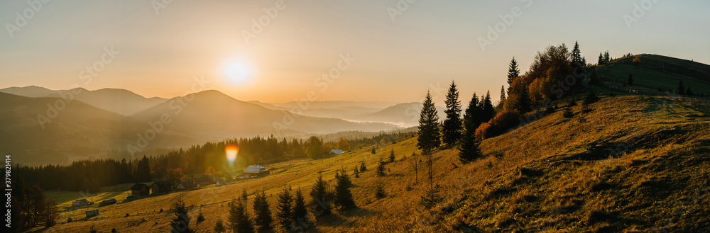 Fototapeta Panoramic autumn evening in the mountains. Trees on the edge of a hill in fall colors. The wonderful countryside in the morning. Amazing view on a sunny autumn day with fog and high mountain peaks.