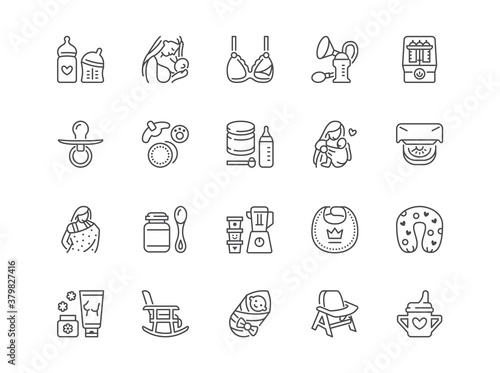Fotografie, Obraz Breastfeeding line icons set