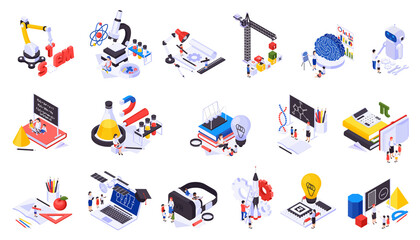 STEM Education Isometric Icons Set