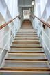 canvas print picture - Steep stairwell or staircase onboard luxury ocean liner QM2 Queen Mary 2 - Steile Treppe an Bord von Cunard Ozeanliner