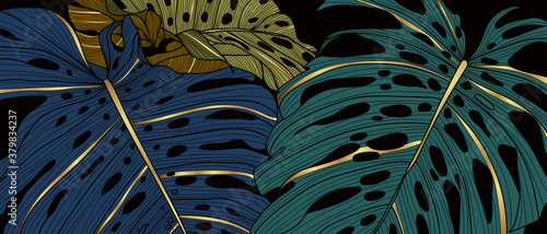 Obraz Luxury golden art deco wallpaper. Nature background vector. Floral pattern with golden split-leaf Philodendron plant with monstera plant line art on green emerald color background.  - fototapety do salonu