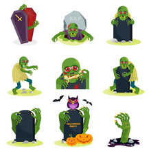 Set Of Green Zombie With Red Eyes Set. Flat Vector Cartoon Person.