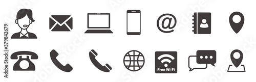 Fotomural Set of contact icons vector