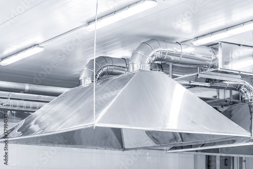 Ventilation system extraction hood supply air return for food factory industry