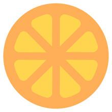Orange Slice Denoting Citrus Fruit In Flat Icon