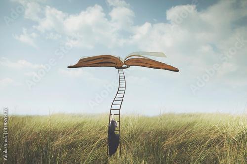 success concept, surreal woman climbs a strange ladder to reach an open book sus Wallpaper Mural