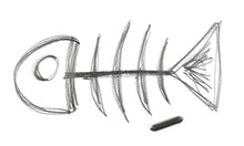 Graphite Stick With Fish Bones Skeleton Doodle Hatching, Sketching Isolated On White Background, Top View