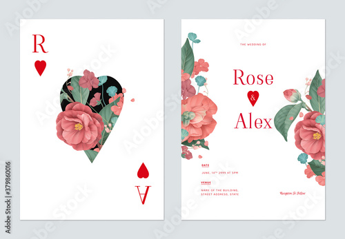 Fototapeta Floral wedding invitation card template design, red Semi-double Camellia and various red flowers with leaves on white obraz
