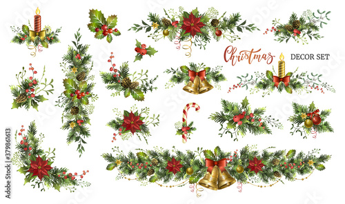 Big Christmas decor elements set for your design. Garland fective set.