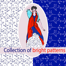 A Set Of Seamless Backgrounds With A Floral Pattern. For Decorating Your Wallpaper, Packaging, Fabric, Digital Paper, Fill, Etc. Blue, Orange, And White. A Painted Girl In A Dress Shows A Combination