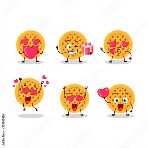 Pumpkin pie cartoon character with love cute emoticon Wallpaper Mural
