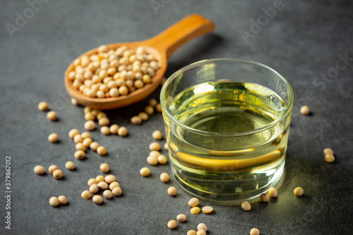Fototapeta Soybean oil Soybean food and beverage products Food nutrition concept. obraz