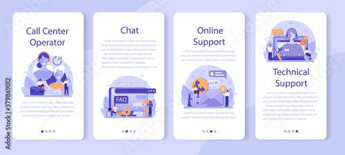 Fotografía Call center or technical support mobile application banner set