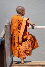 Portrait Of A Young Monk In A Burmese Monastery  At Inle Lake In Burma, Myanmar