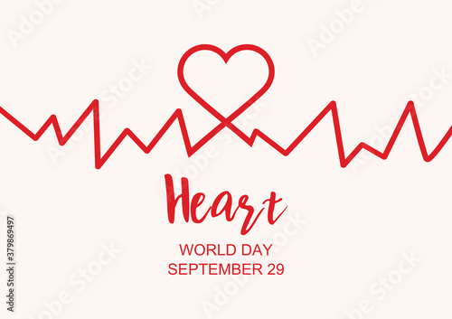 World Heart Day Poster with Heart beat line vector Canvas Print