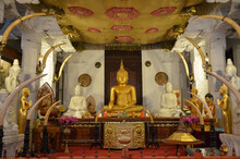 Beautiful Interior Of The Temple Of The Sacred Tooth Relic In Sri Lanka