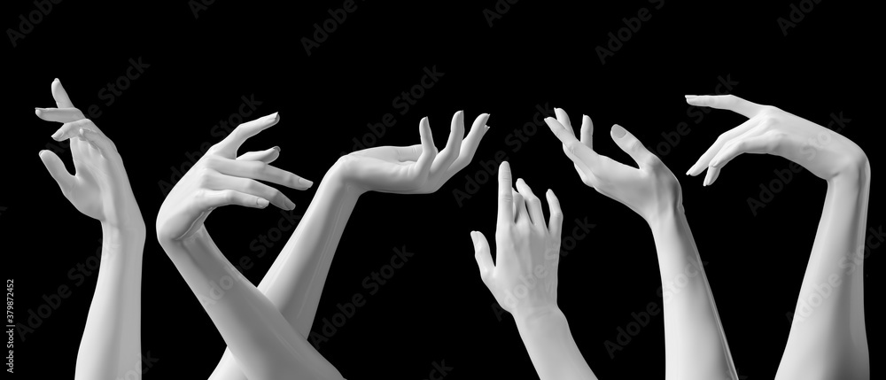 Fototapeta Mannequin hands set, isolated female hand white sculptures elegant gestures isolated 3d rendering concept