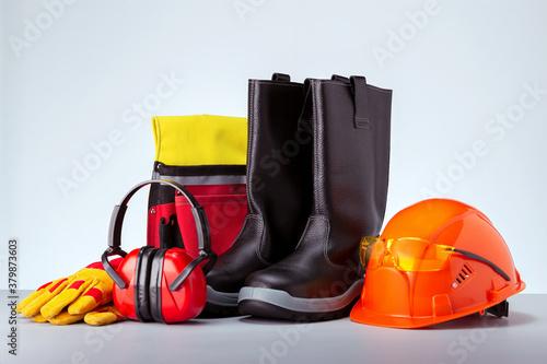 Slika na platnu Personal protection equipment against grey background