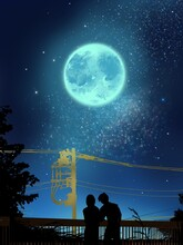 Silhouette Of Lovers In  The Moonlight Night View