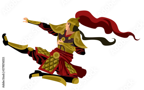 strong chinese armored soldier jumping kick Fototapete