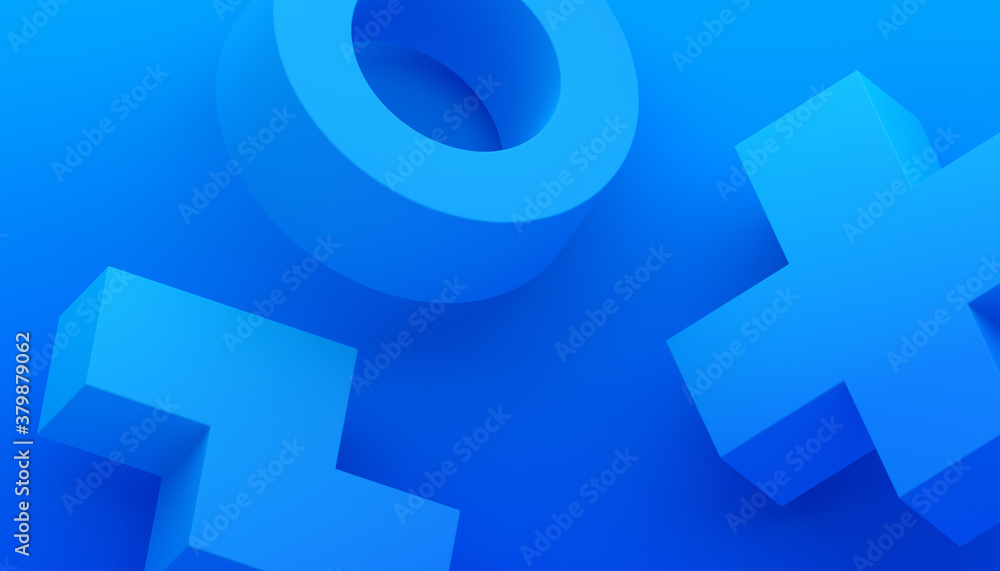 Fototapeta Abstract 3d render, modern blue background with geometric shapes, graphic design