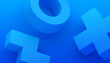 Abstract 3d render, modern blue background with geometric shapes, graphic design