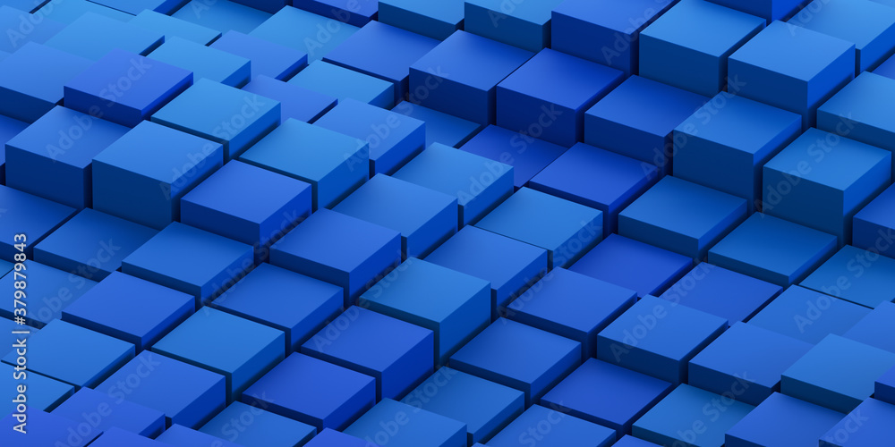 Fototapeta Abstract 3d render, geometric background design with blue cubes