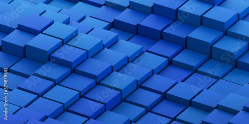 Fototapeta Abstract 3d render, geometric background design with blue cubes obraz