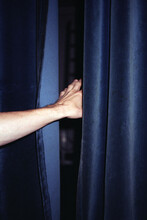 Hand And Blue Velvet Blackout Curtains