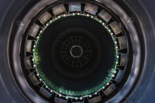 Close Up Of Airplane Jet Engine