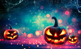 Fototapeta Pokój dzieciecy - Halloween Abstract Party - Smiling Pumpkins On Defocused Shiny Background