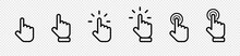 Cursor Click Collection. Cursor Computer Mouses, Isolated On Transparent Background. Clicking Cursor Vector Icons. Pointing Hand Clicks. Vector Illustration