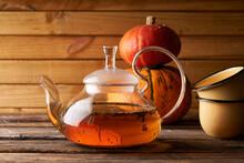 Teapot With Brewed Hot Tea ,pu...