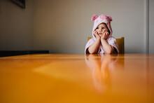 Sad Toddler In Pig Towel