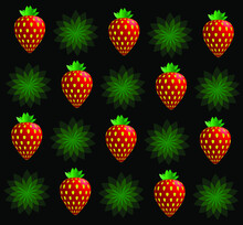 Strawberries Isolated On Black Background. Design Template For Fabric, Print, Clothing,  Wrap And More.