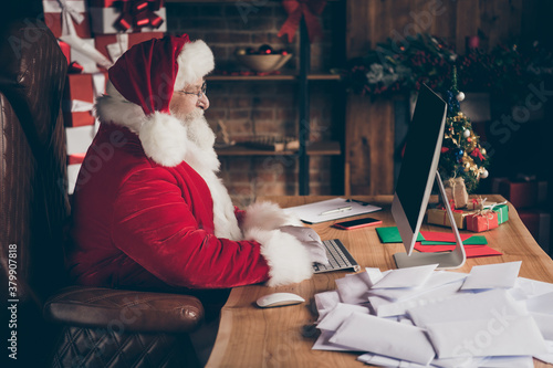 Fotomural Profile side photo focused jolly holly santa claus sit table use computer write