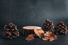 Wooden Podium Or Stand For Product Showcase With Cones And Dry Leaves On Grey Stone Background, Dark Still Life