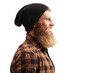 Close up profile shot of a hipster guy with beard and mustache wearing a black hat