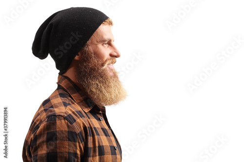 Fotografía Close up profile shot of a hipster guy with beard and mustache wearing a black h