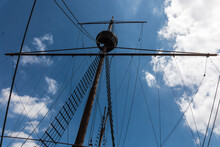 Replica Of A Portugees Ship In The Port Of Melaka, Old Town In Malaysia