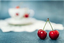 Two Red, Delicious Cherries In...