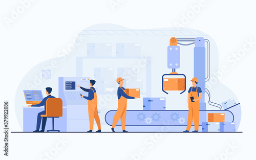 Fototapeta Factory workers and robotic arm removing packages from conveyor line. Engineer using computer and operating process. Vector illustration for business, production, machine technology concepts obraz