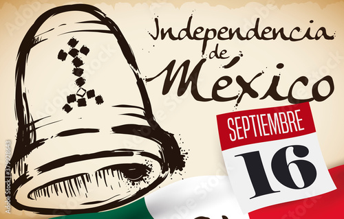 Fotografía Scroll, Calendar, Flag and Bell Drawing for Mexico's Independence Day, Vector Il
